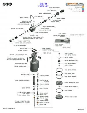 Gage Bilt GB731 Rivet Gun Parts List