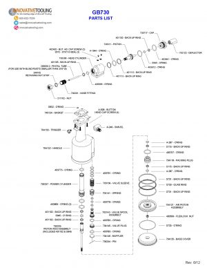 Gage Bilt GB730 Parts List