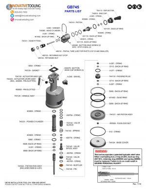Gage Bilt GB745 Parts List