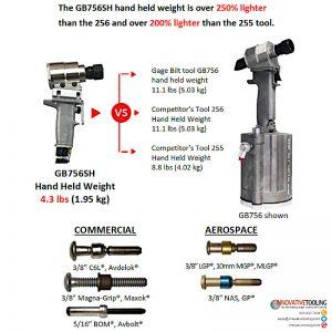 Gage Bilt GB756SH Comparative Weight