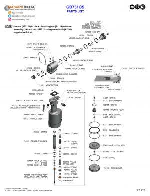 Gage Bilt GB731OS Parts List