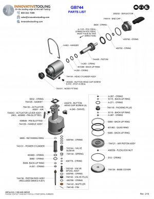 Gage Bilt GB744 Parts List