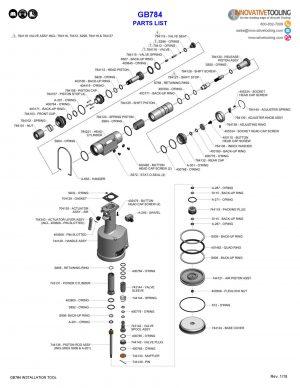Gage Bilt GB784 Parts List
